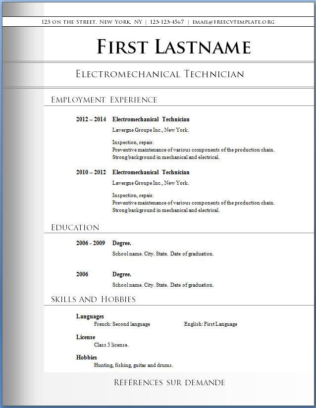 download free resume templates for word simple resume template