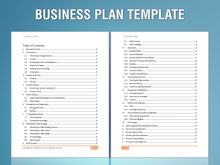 format of a business plan for start ups