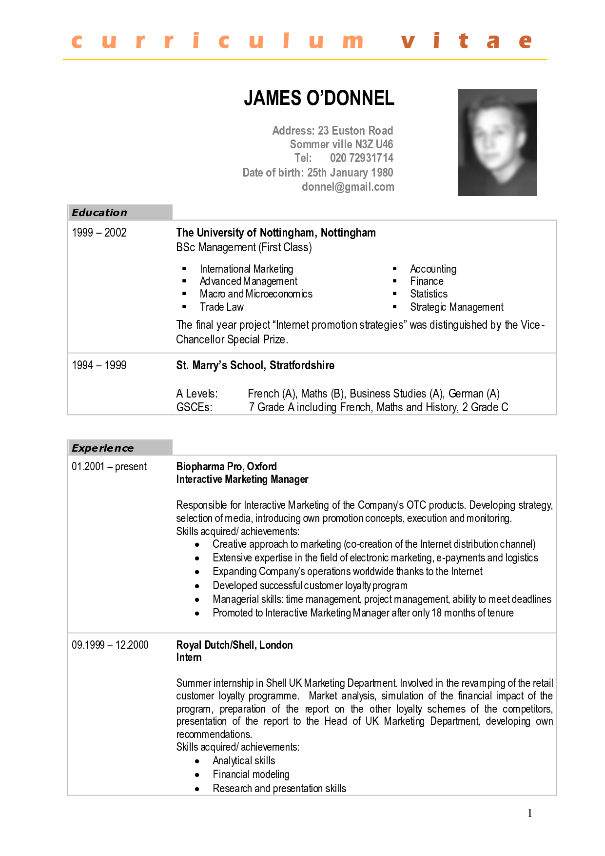 sample cv fotolip com rich image and wallpaper - Sample Picture Of A Resume