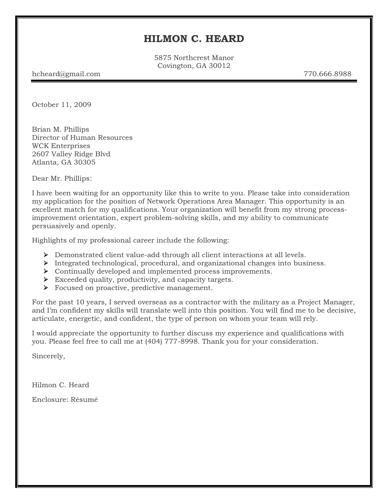 sample cover letter for resume - Example Of Cover Letters For Resumes