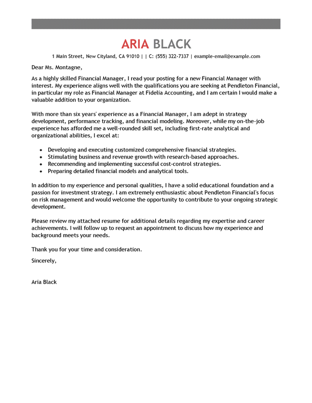 Sample Cover Letter For Resume