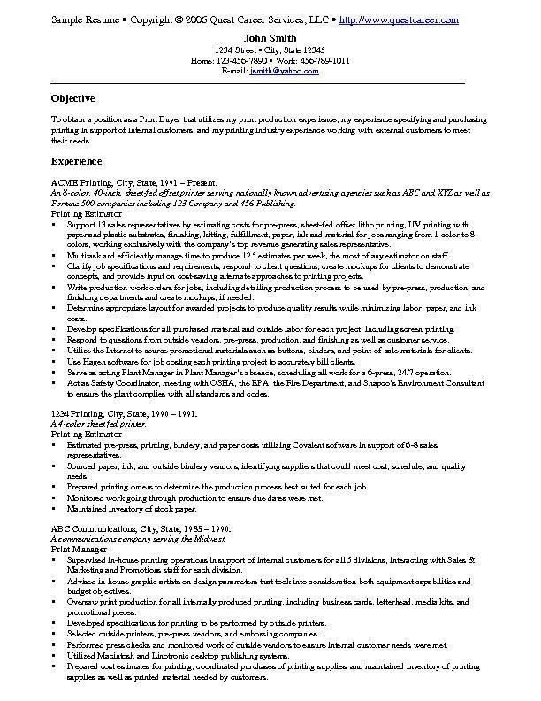 free printed examples job resume - Free Example Resumes
