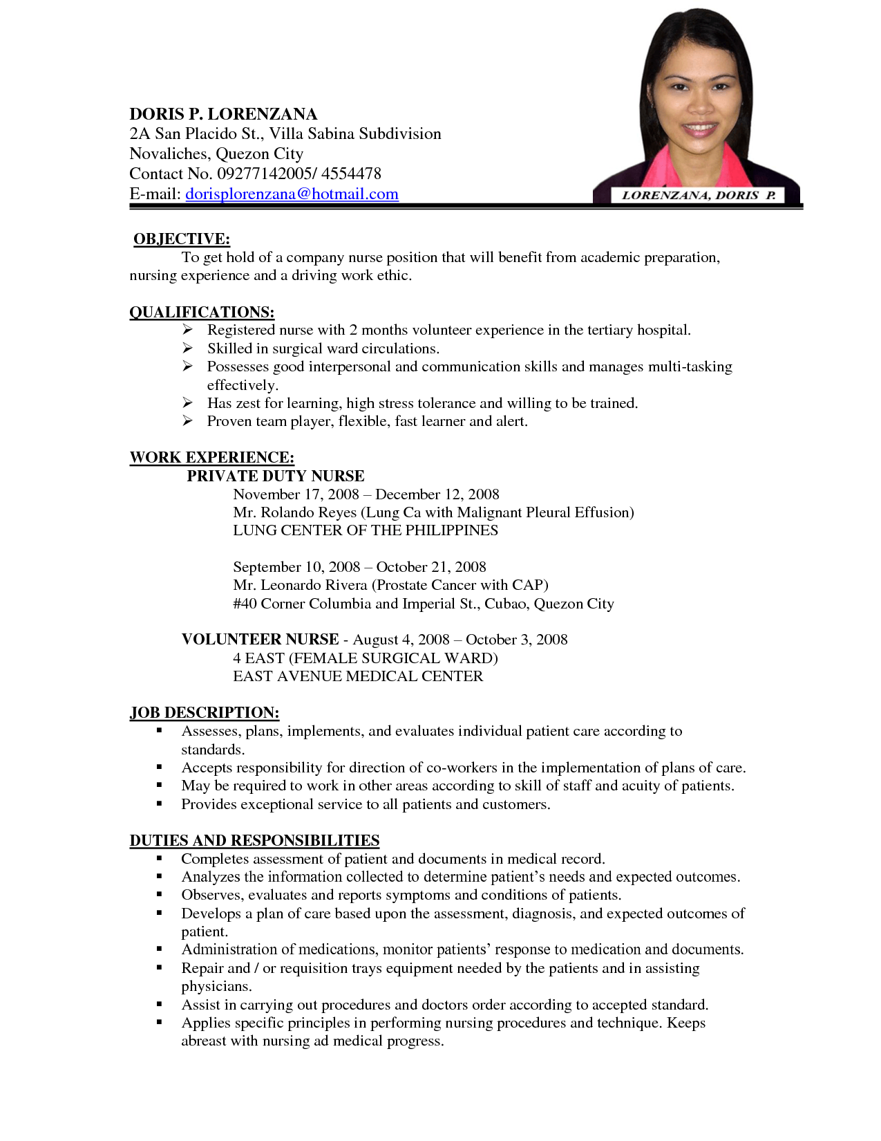 sample resume job application - Format Of A Resume For Job Application