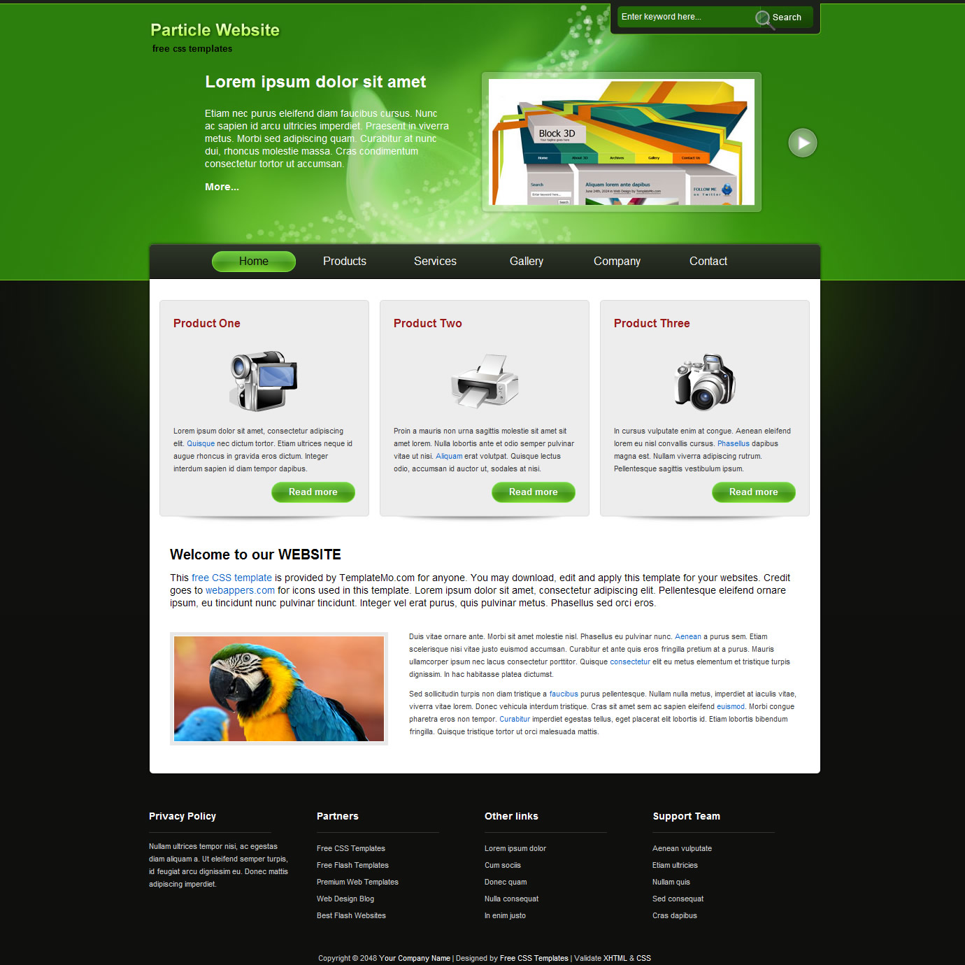 Website templates rich image and wallpaper for Dreamweaver layout templates