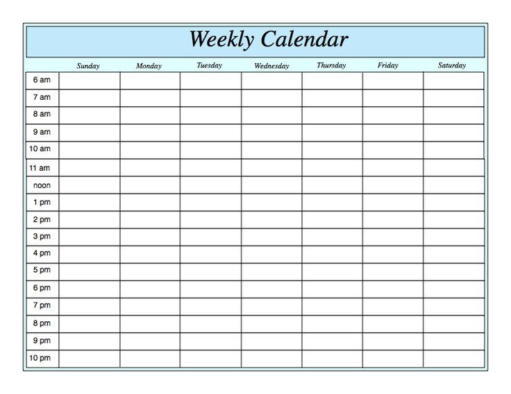 Weekly Calendar Weekly Calendar With Times Free Printable Weekly