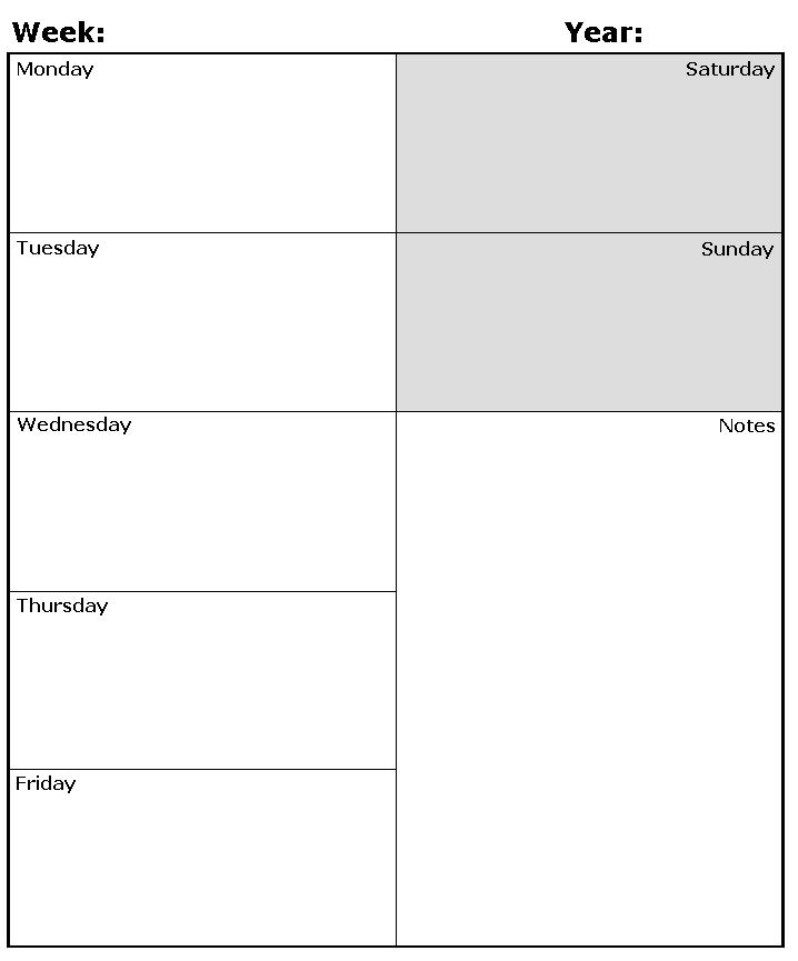 Weekly Calendar Template Fotolip Rich Image And Wallpaper