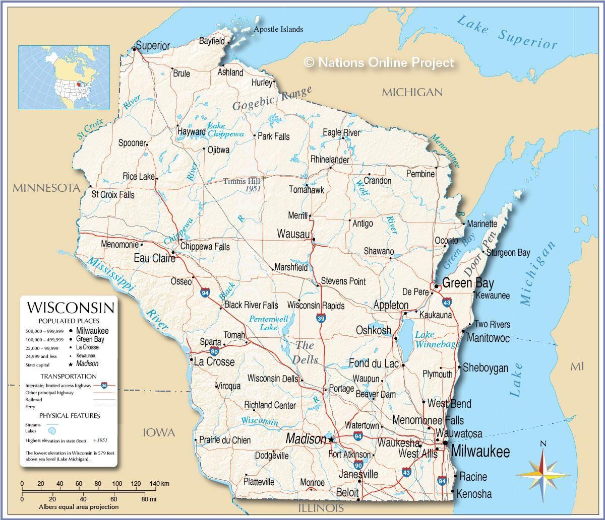 Wisconsin Map Fotolip