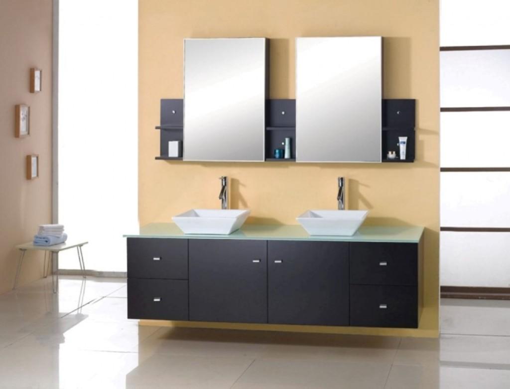 Bathroom Vanity Idea Present Modern Frosted Glass Mirrors