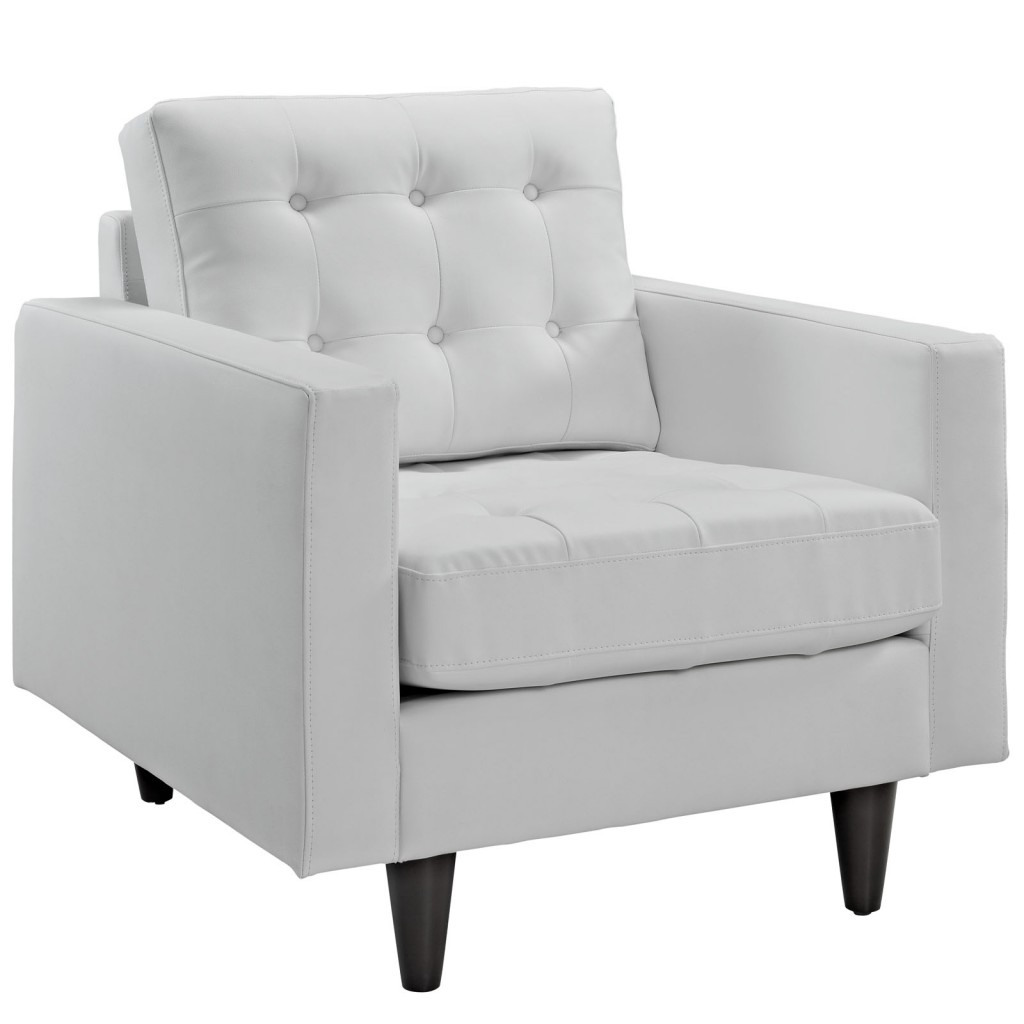 Empress Leather Armchair, White by Modway Furniture | SohoModcom