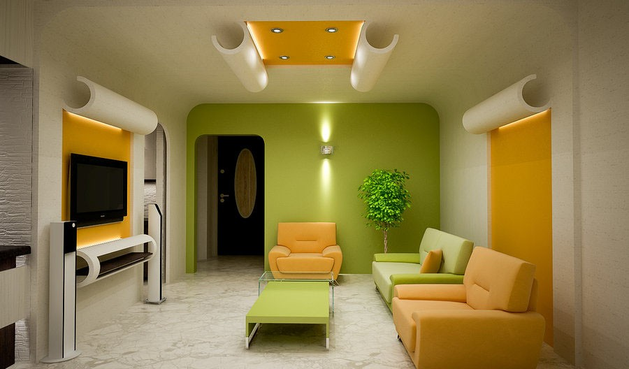 Living Room: Perfect Color For Small Living Room With Green