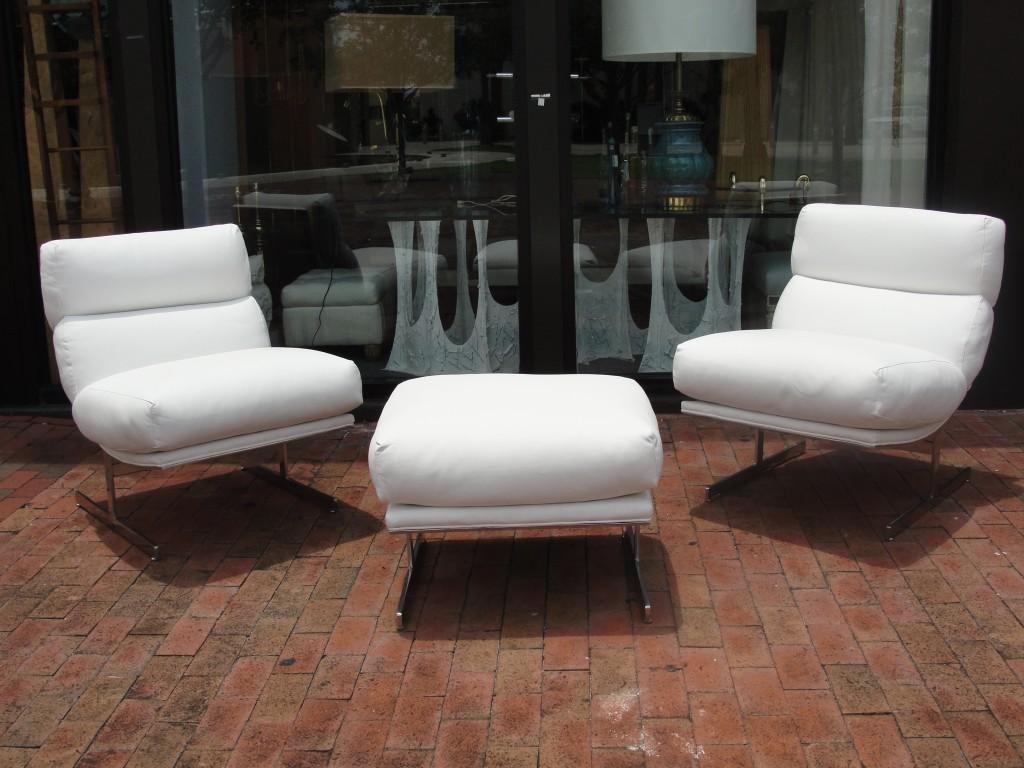 Pair of Kipp Stewart White Leather Chairs and Ottoman For