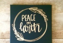 Peace on earth- 12x12 canvas sign, holiday decor, Christmas