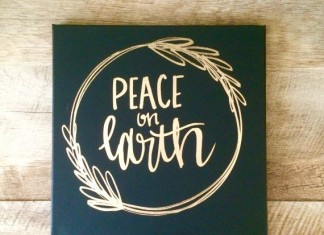 Peace on earth- 12x12 canvas sign, holiday decor, Christmas