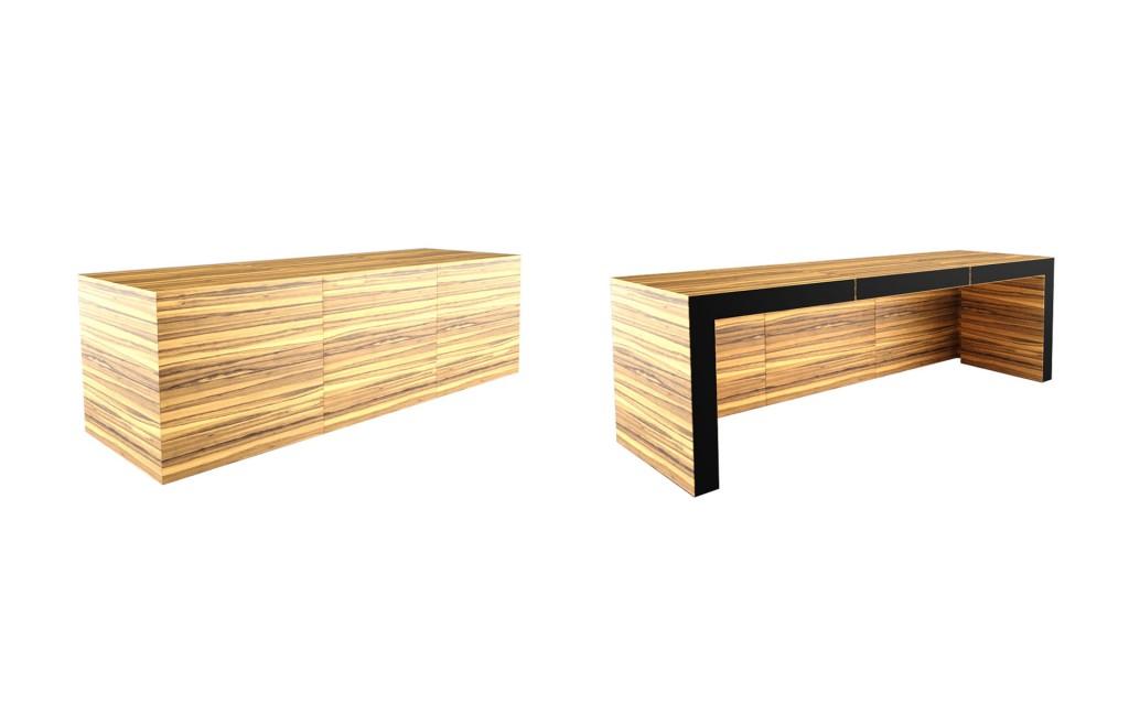 zebrano design table - OPERARIUS - rechtecknet