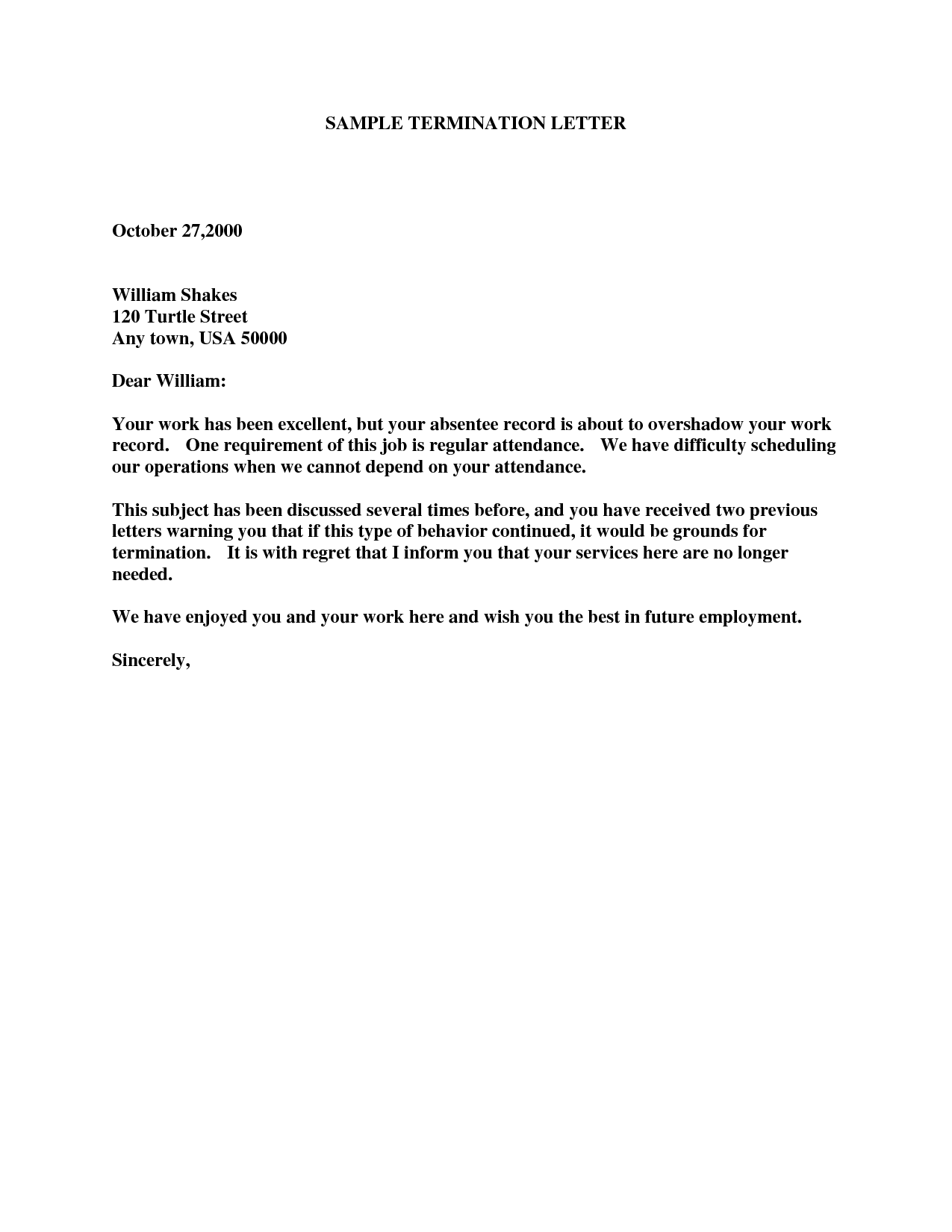 at will employee termination letter