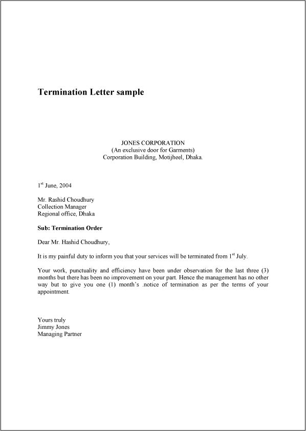 Termination Letter – Employment Termination Form Template