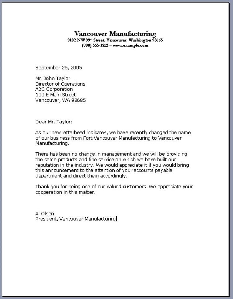 Business Letter Format