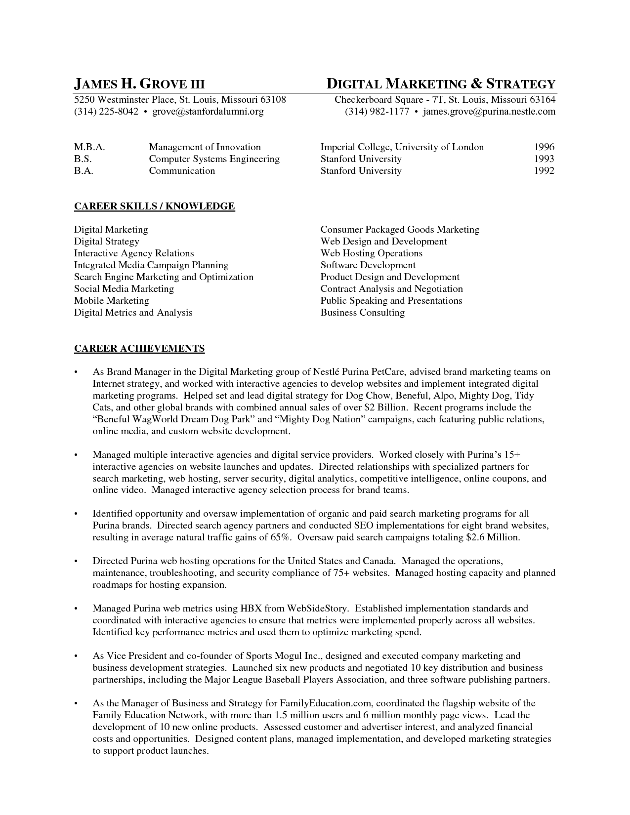 marketing specialist sle resume sle of