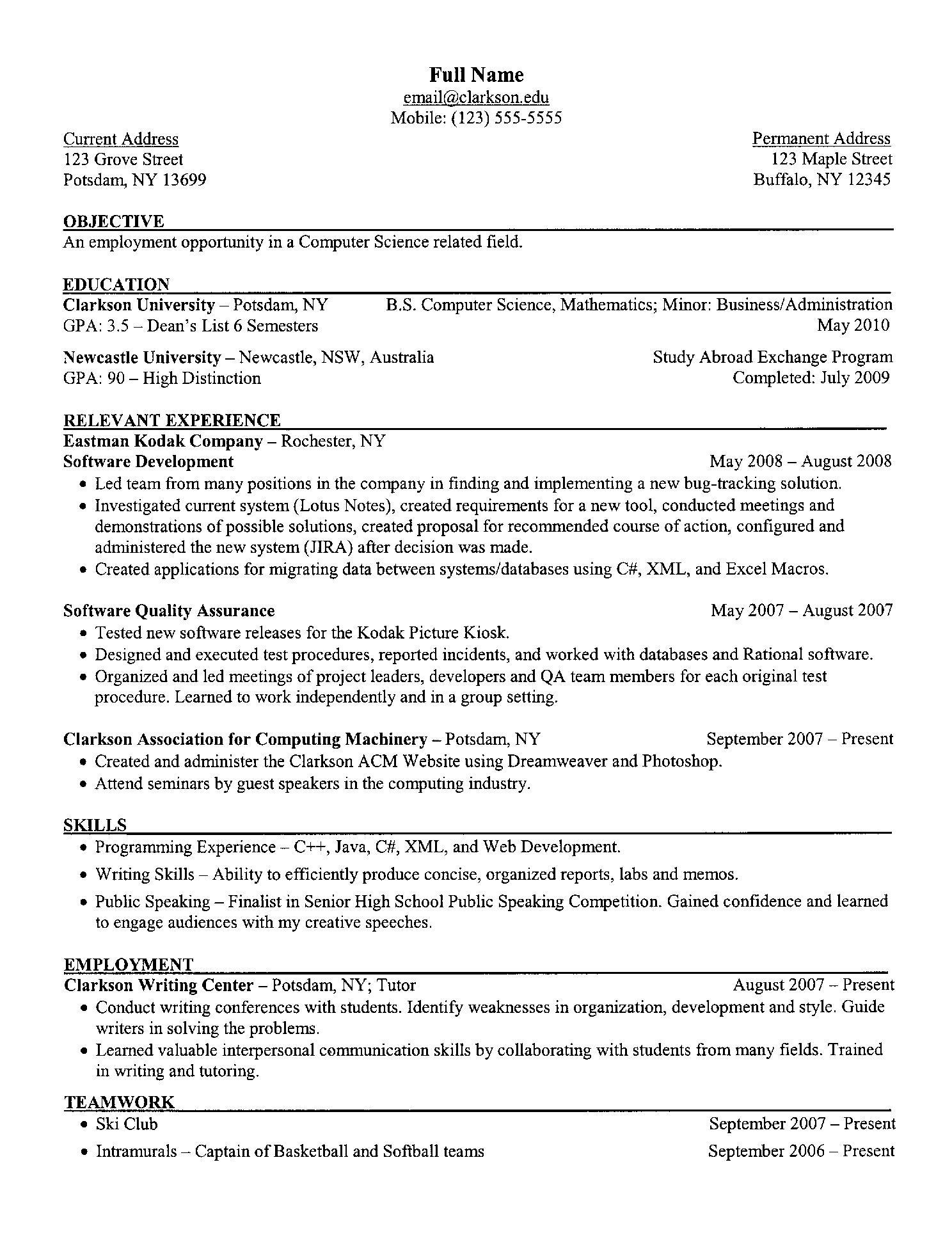 Example of Resume