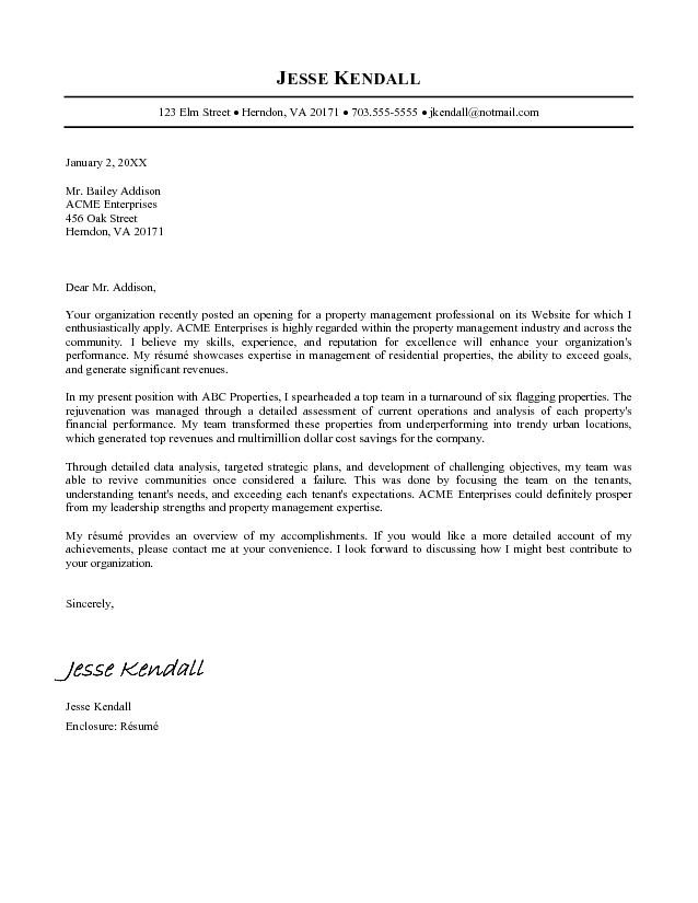 example of professional cover letter for resume free professional