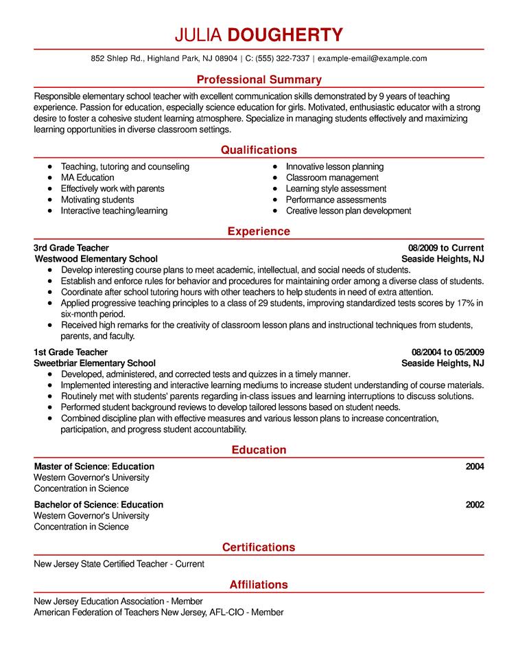 Resume Example - Fotolip