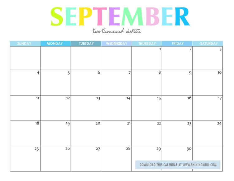 calendar planner September 2016