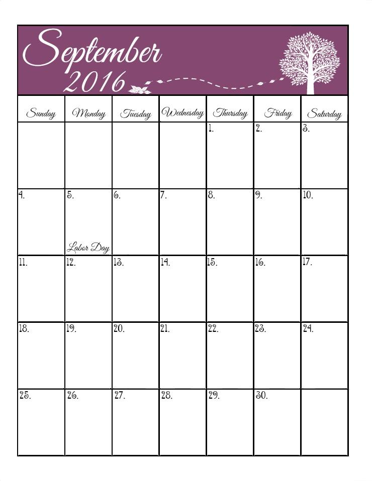 September 2016 calendar cute
