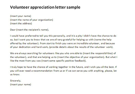 Volunteer appreciation letter sample rich for How to write a cover letter for volunteer work