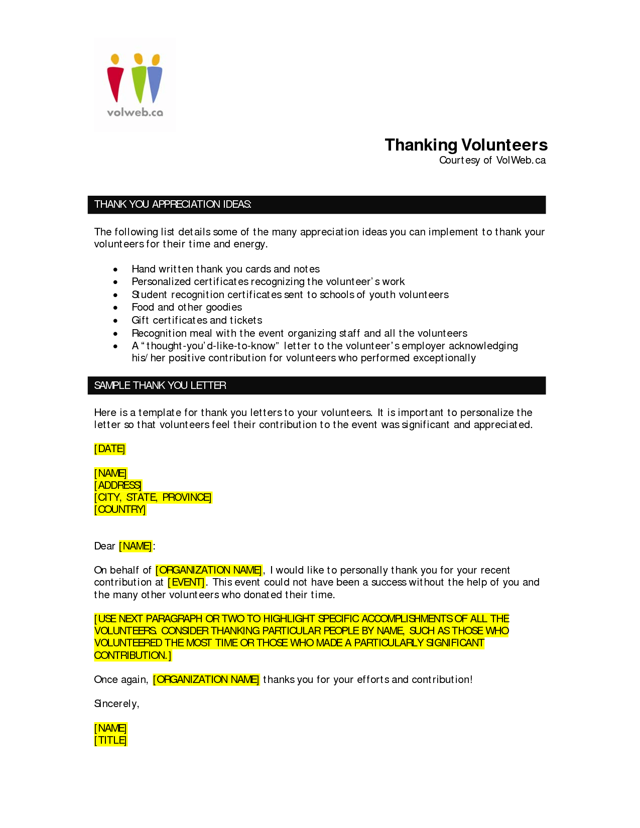 Volunteer Appreciation Letter Sample  FotolipCom Rich Image And
