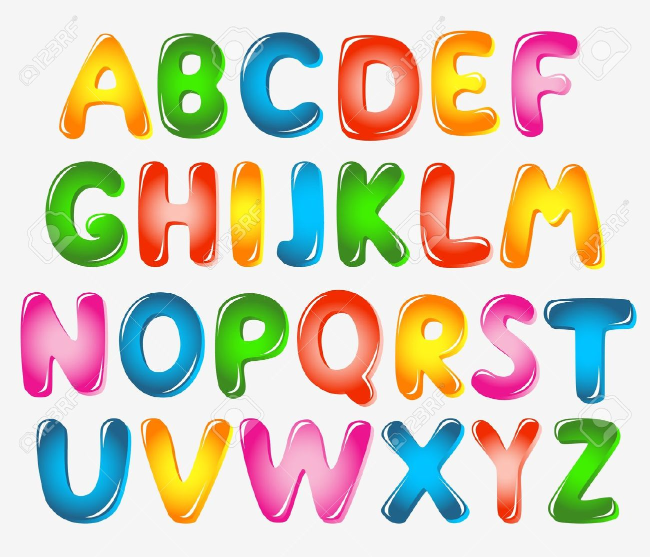 Sample Thick Bubble Letter Alphabet