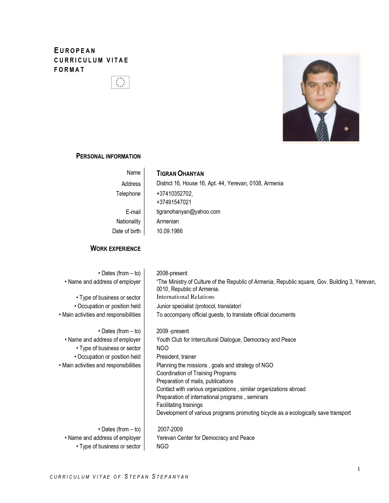 european resume template