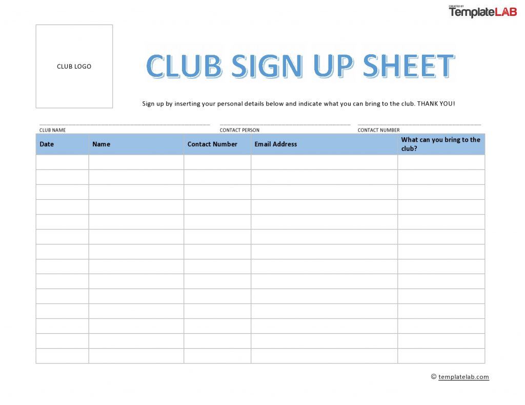 Club Sign Up Sheet Template