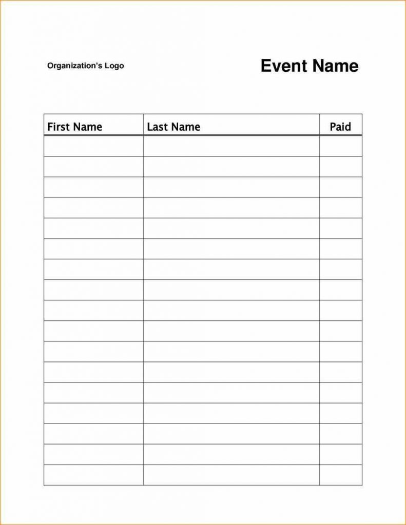 Sign up Sheet Event