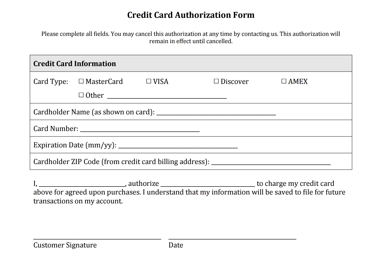 Credit Card Authorization Form Fotolip