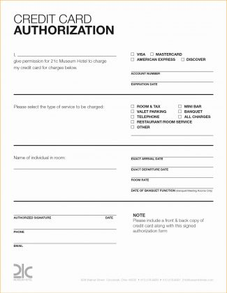 Credit Card Authorization Form