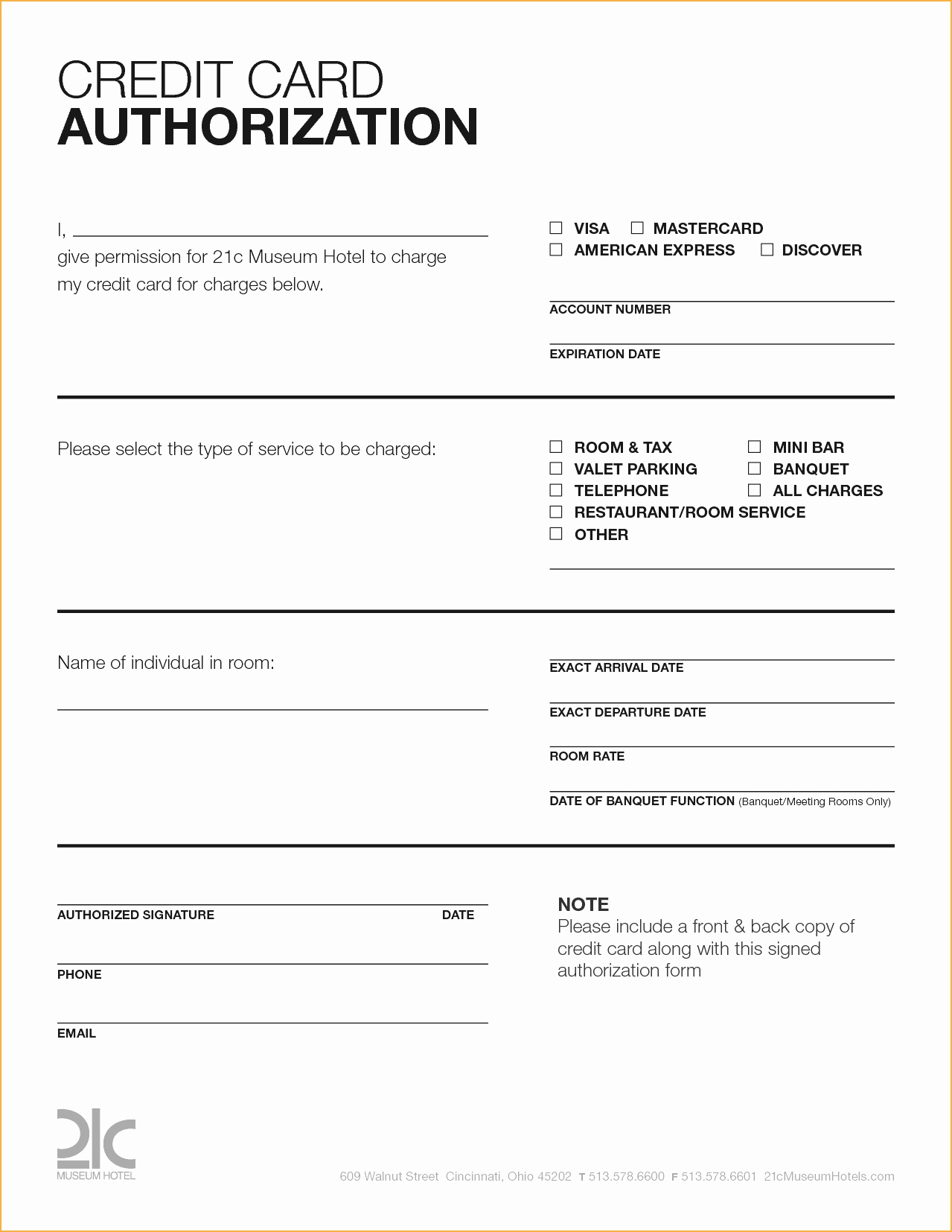 credit card authorization form in word