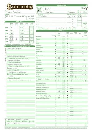 Pathfinder Character Sheet