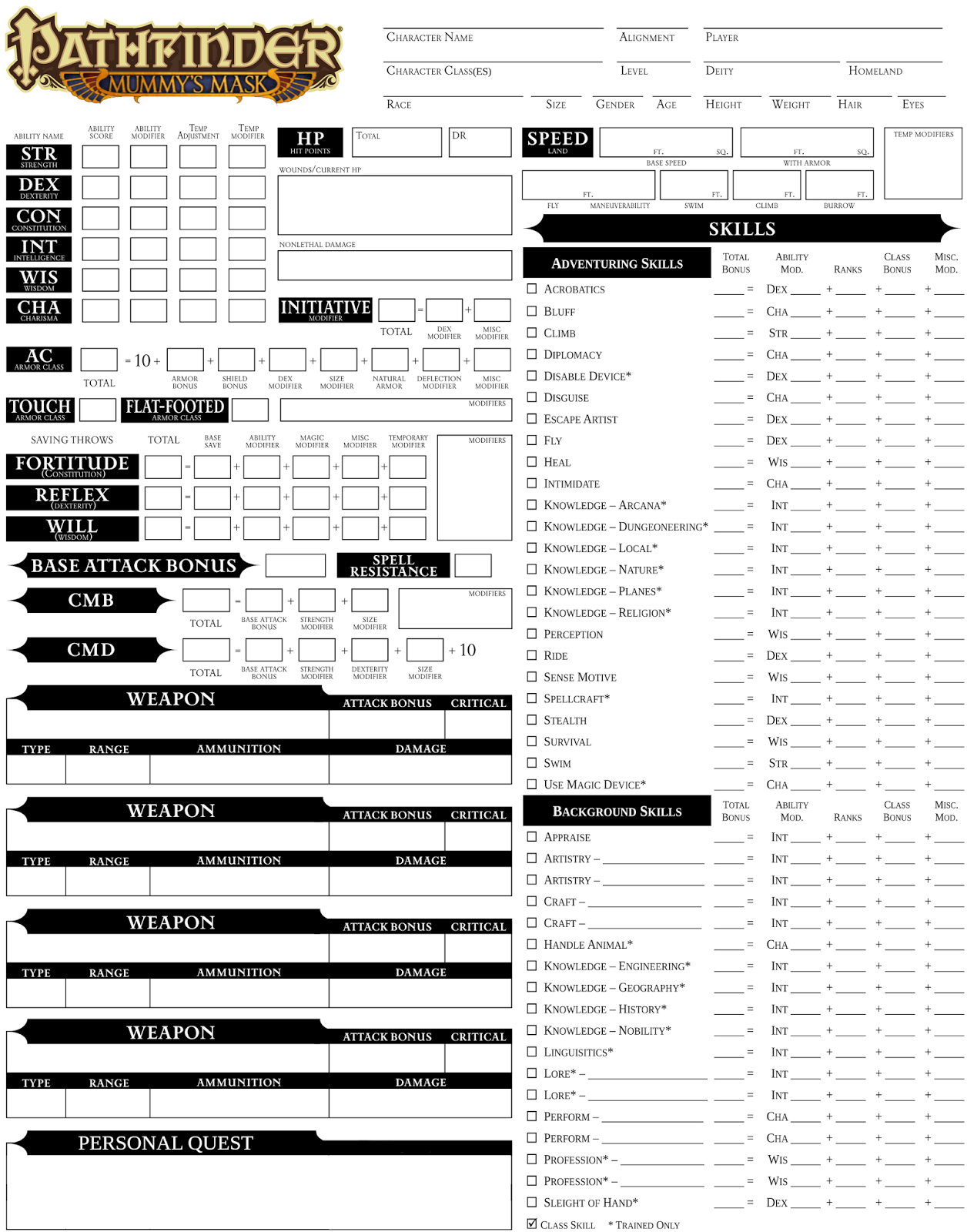 It is an image of Refreshing Printable Pathfinder Character Sheet