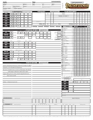 Pathfinder Character Sheet  Fotolip