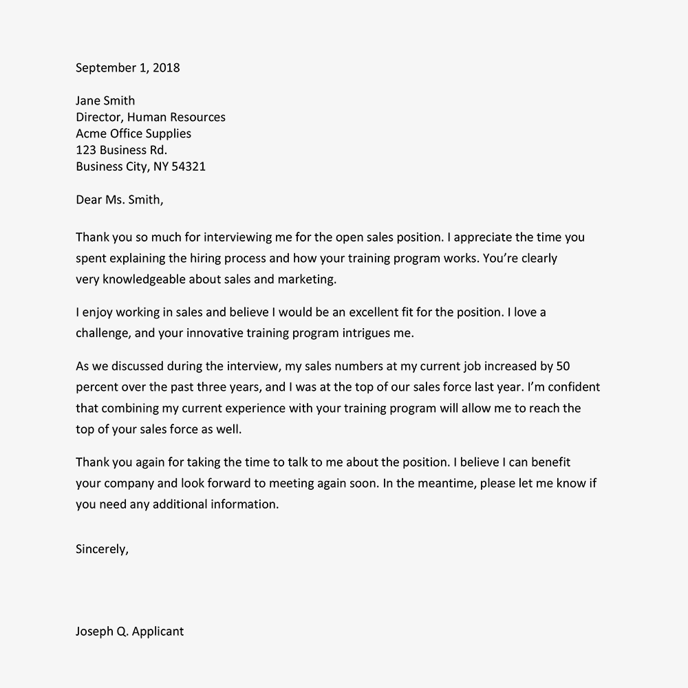 A Thank You Letter Example