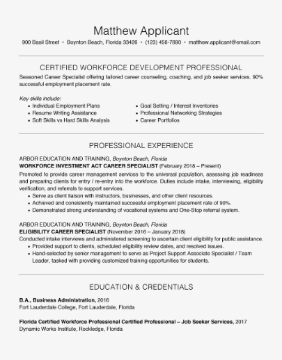 A good and detailed resume