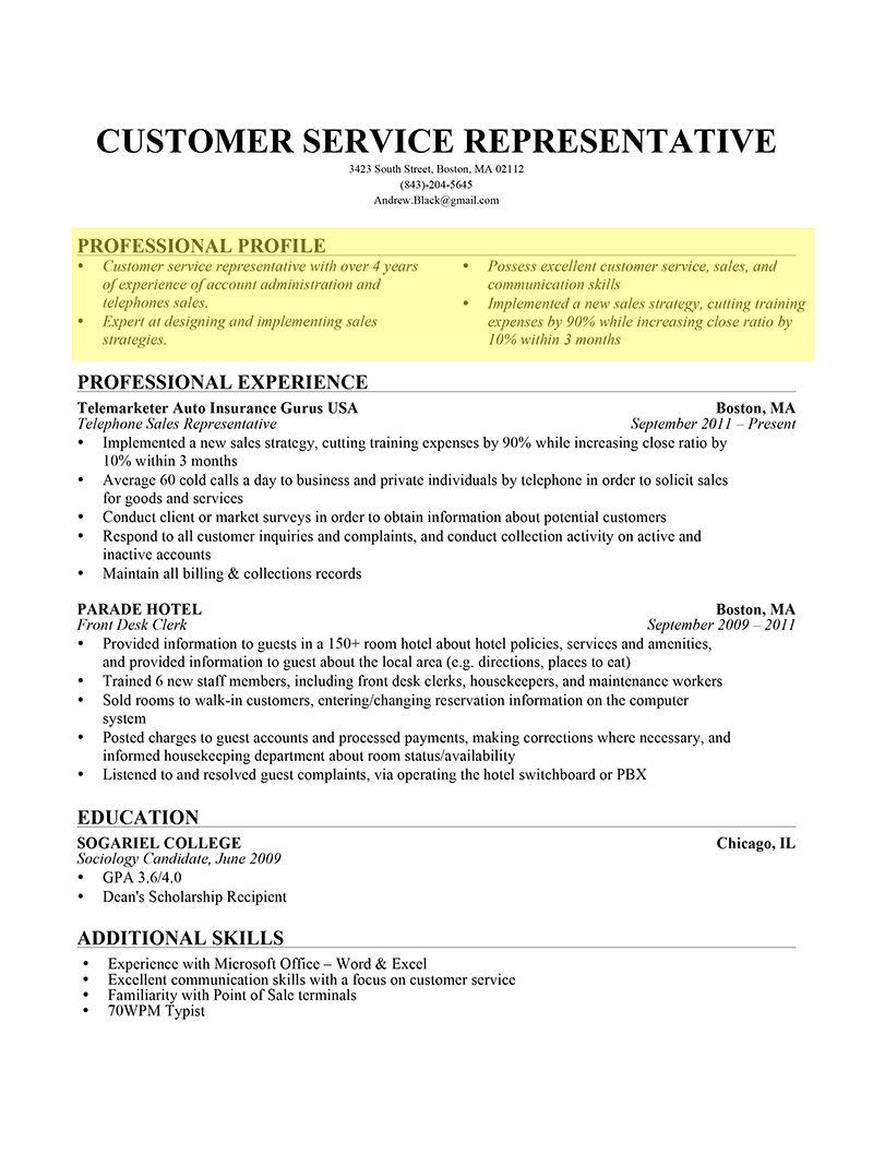 Professional Profile - resumegenious.com