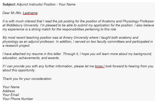A Sample of Job Application E-mail