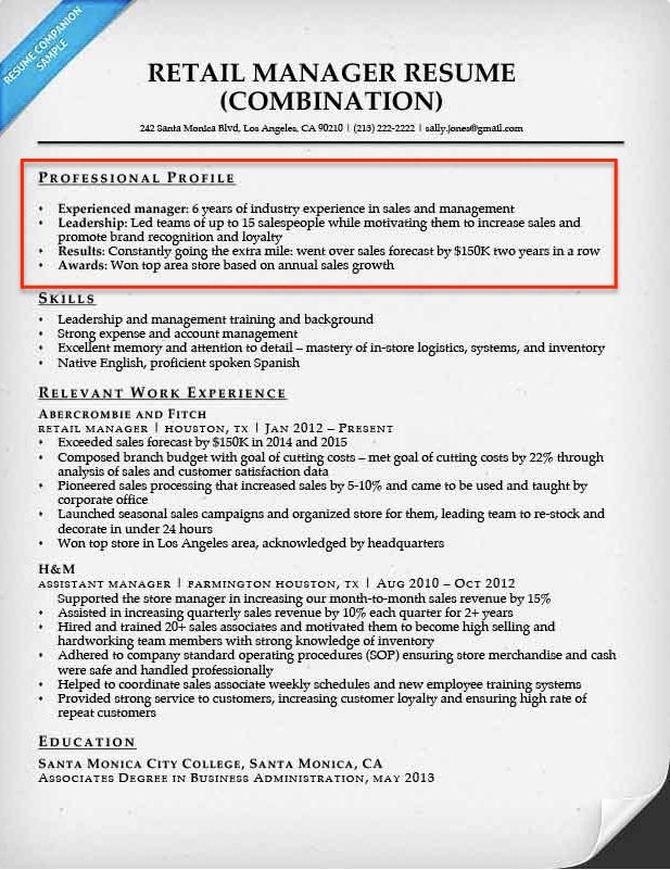 Resume Profile - resumecompanion.com