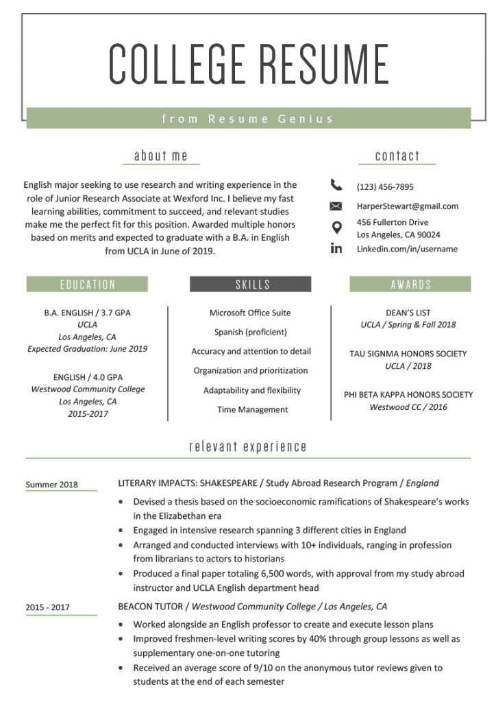 College Student Resume Example Template